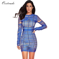 Ocstrade Sexy Bodycon Dress Night Party 2017 New Arrival Fashion Long Sleeve Women Blue Woven Cage