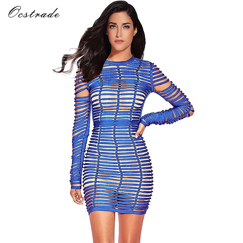 Ocstrade Sexy Bodycon Dress Night Party Club Long Sleeve Women Summer 2018 New Arrival Blue Woven Cage Mesh Bandage Dress Rayon