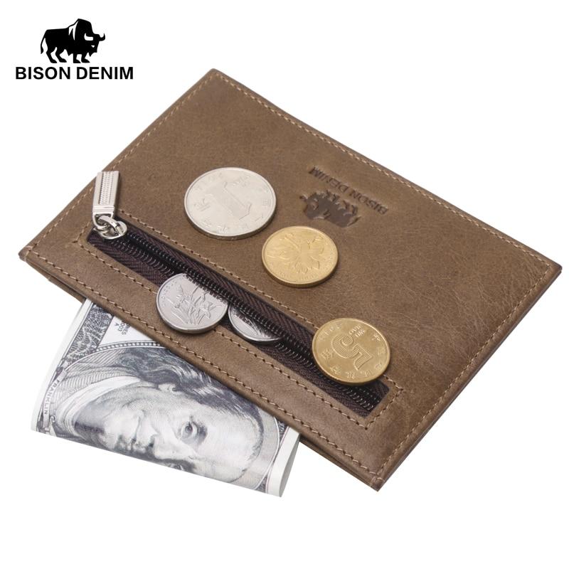 BISON DENIM genuine leather guarantee retro design Coin Purses men credit card holder Vintage pocket mini small wallets 9309