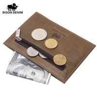 BISON DENIM Hot Retro Design Coin Purses Men Bcredit Card Holder Khaki Vintage Pocket Money Wallet