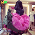 2016 Winter Coats Fashion Army Green Women Jackets Real Large FOX Fur Collar FOX FUR Liner Thick Ladies Down & Parkas