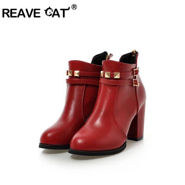 REAVE MÈO Mùa Đông Giày Da Khối Giày cao gót Giày ngắn Boot dây kéo sau lưng Khóa Giày cưới đỏ đen size lớn 45 46