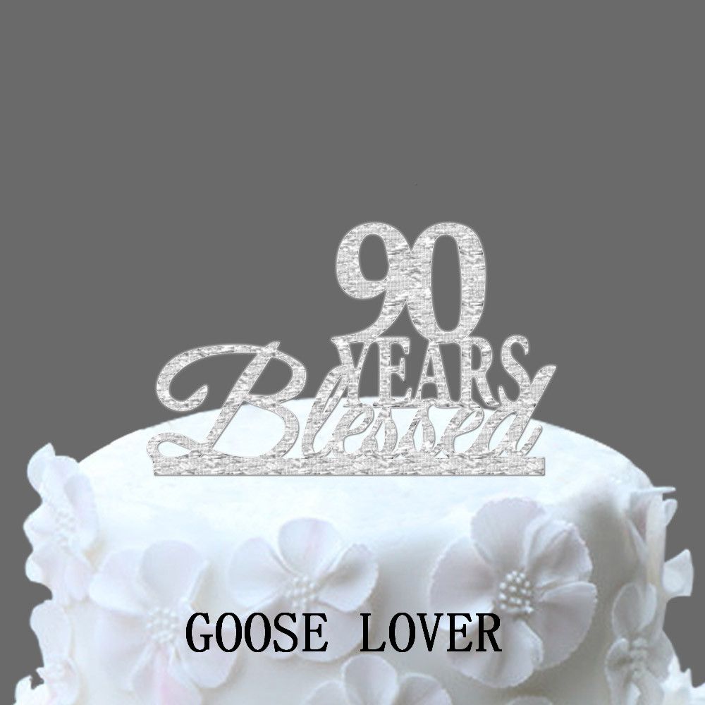 Bling Glitter Silver 90 Birthday Anniversary Cake Topper Silver
