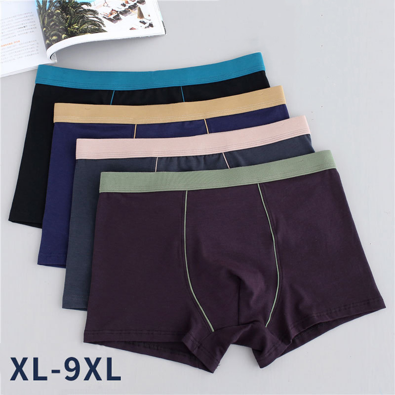 4PCS Men Pure Cotton Oversize Boxer Soft Underwear Male Solid Boxer Plus Size Scrotum Care Big Shorts Underpants Flexible 9XL