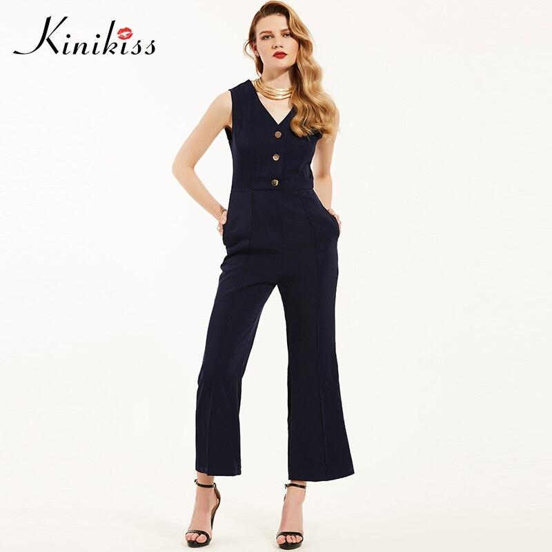Kinikiss Fashion Office Lady One Piece Jumpsuit Elegant V Neck Button High Waist Wide Legs Pant Sleeveless Romper Women Jumpsuit