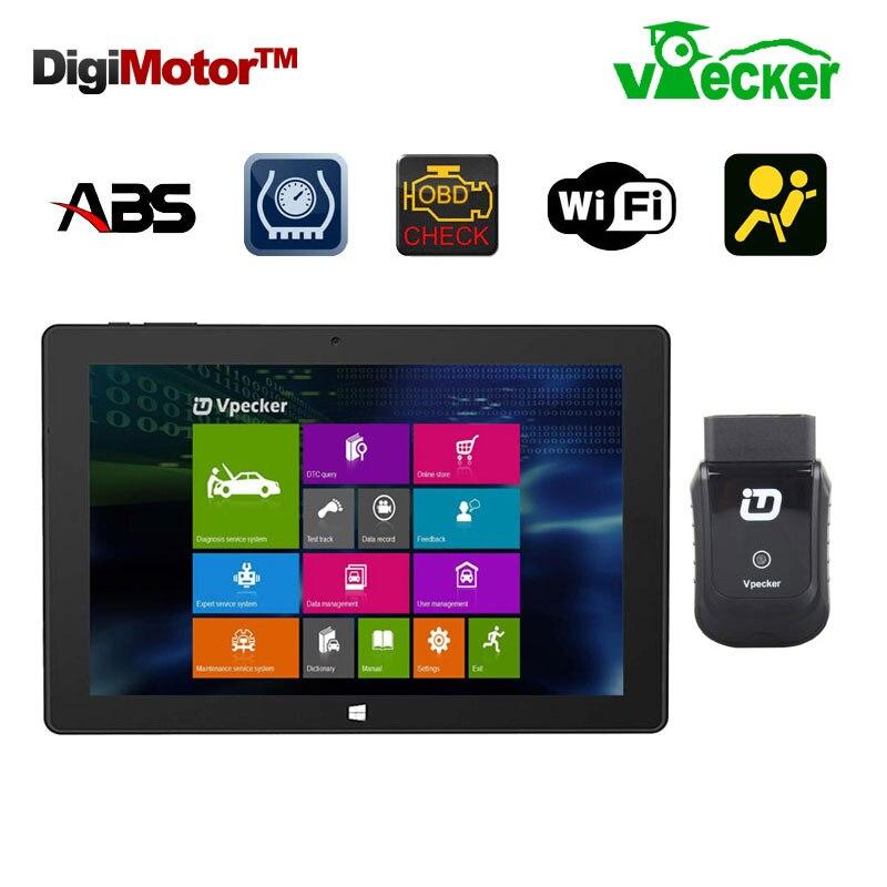 Prix pour Win10 10.1 Pouce Tablet + Vpecker Fonction Comme Launch X431 iDiag Easydiag Scanner Automotriz OBD2 Wifi Code Scanner Outil De Diagnostic