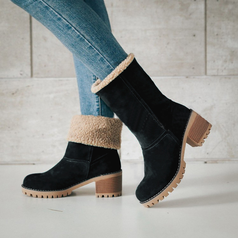 Women Casual Fashion Warm Snow Winter Ankle Boots Square High Heels Platform Shoes Woman Botas Zapatos