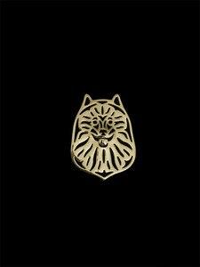 Trendy Keeshond pies broszki i szpilki złoty kolor kolor srebrny mężczyźni broszki biżuteria ręka króla