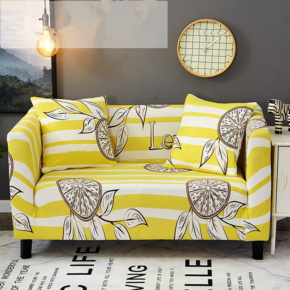 Yellow Sofa Cover Elastica Summer Fruit Lemon Cubre Sofa Couch Cover Yellow White Striped Futon Cover Stretch Protector Cover