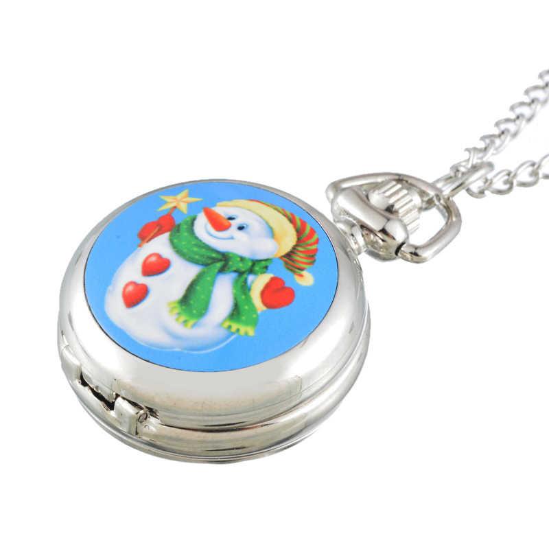 FUNIQUE 2018 חג המולד קשישים אנשי שלג כיס שעון ילדי שעון אופנה כסף צבע שרשרת סגסוגת שעון כיס חג המולד מתנה