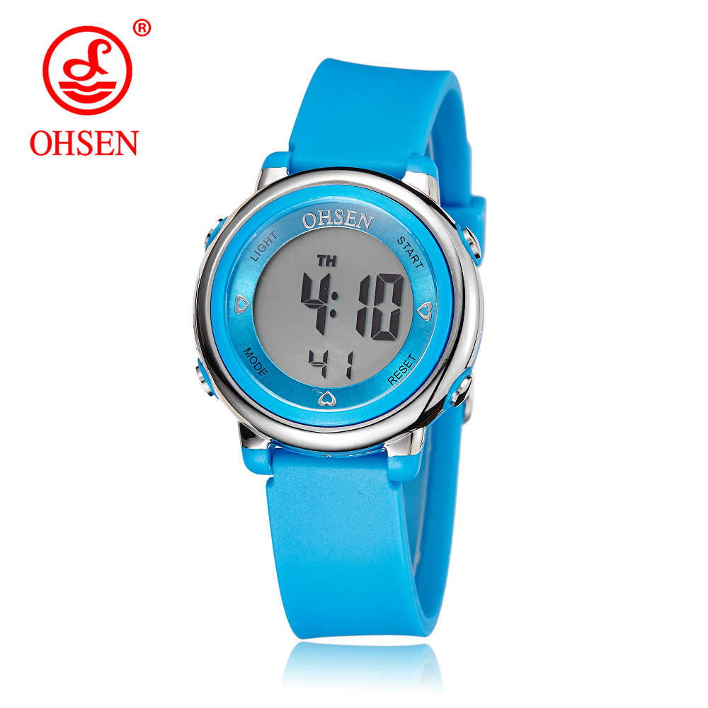 2018 OHSEN Brand Digital LCD Kids Girls Fashion Wristwatch Cute Girl Rubber Strap 50M Waterproof Child Watches Alarm Hand Clocks