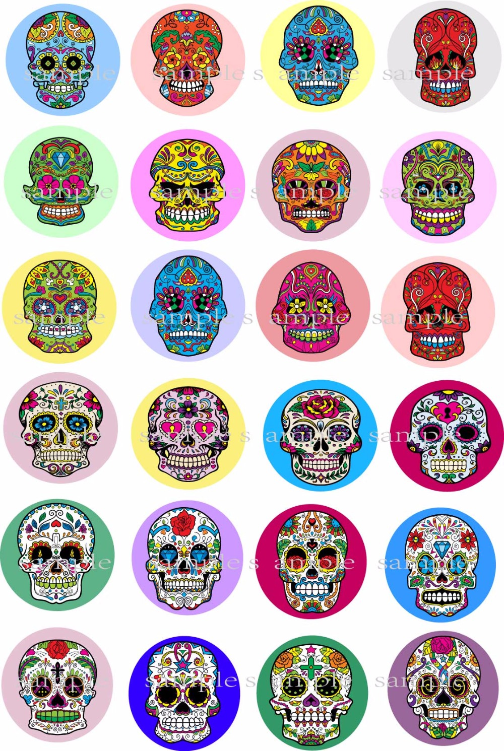 24 Day Of The Dead Mexican Sugar Skull Edible Cake Topper