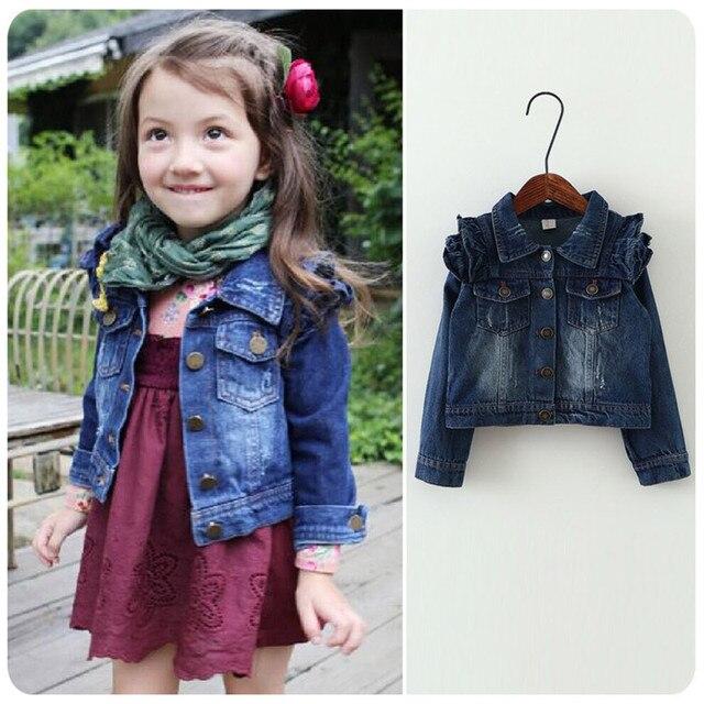 633b068f5 2016 nuevo abrigo de Jeans para niñas chaquetas de moda para niñas Cowboy  niños abrigos de