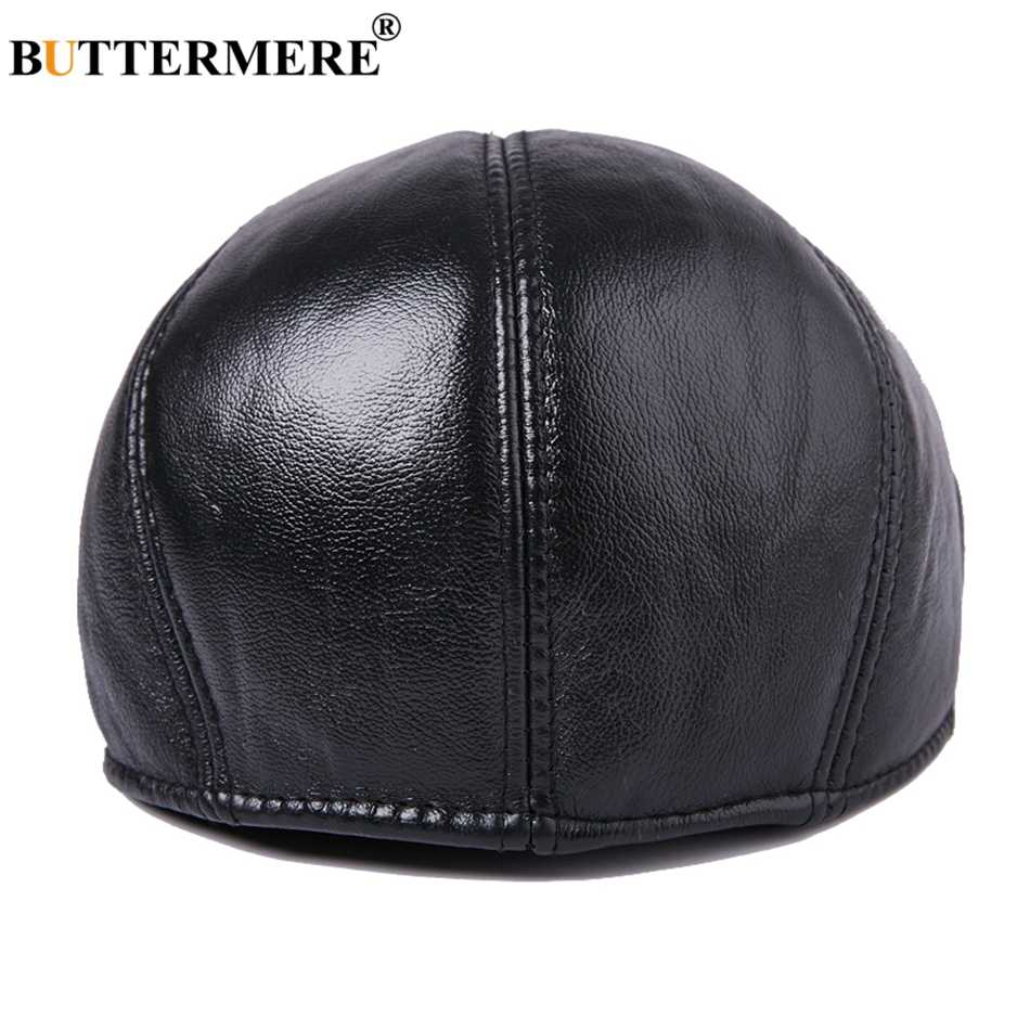 06b776181f3a5 ... BUTTERMERE Mens Real Leather Beret Hat With Earflaps Vintage Black  Cabbie Flat Caps Male British Style ...