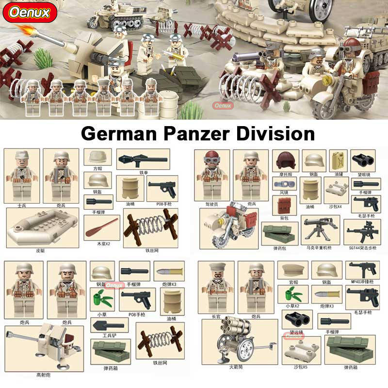 Oenux New WW2 North Campaign War Panzer Division German Figures Builidng Block Tunisia Campaign Military Weapons Model Brick Toy