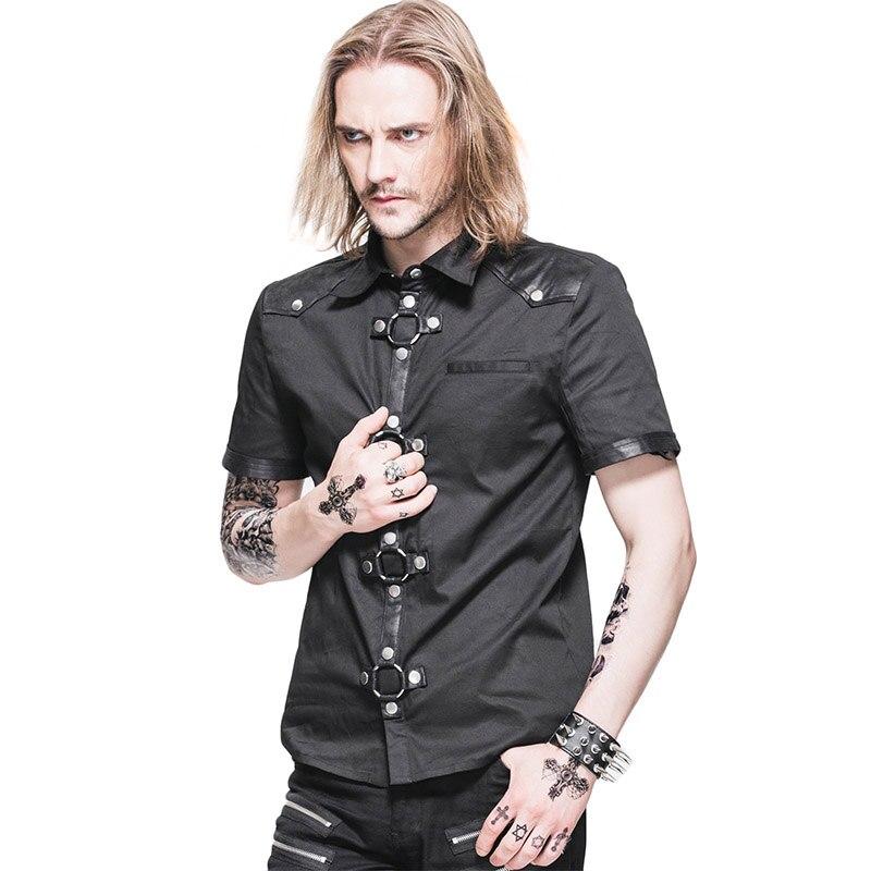 Steampunk Summer Short Sleeve Shirt Men Slim Fit Shirts Tops Casual Blouses Designs 2017 Mens Turn down Collar Shirts SHT008
