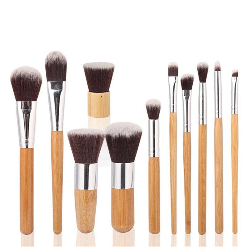 11 pcs/ensemble Professionnel Maquillage Pinceaux Bois Supérieure Souple Cosmétique de Fard À Paupières Fondation Concealer Make up Brush Set avec Sac