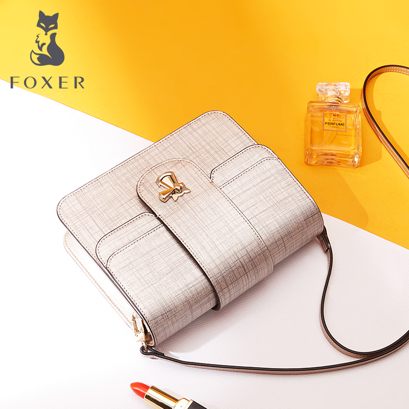 FOXER Brand Women Leather Shoulder Bags Female 2018 New Fashion Crossbody Bag Cowhide Messenger Bags For Lady Women's Small Bag 2018 new foxer brand women leather bag high quality fashion chains women shoulder messenger bag cowhide black simple small bag