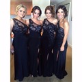 Custom Made One Shoulder Navy Blue Bridesmaid Dress Lace Appliques Slit Side Wedding Party Dress 2016 New