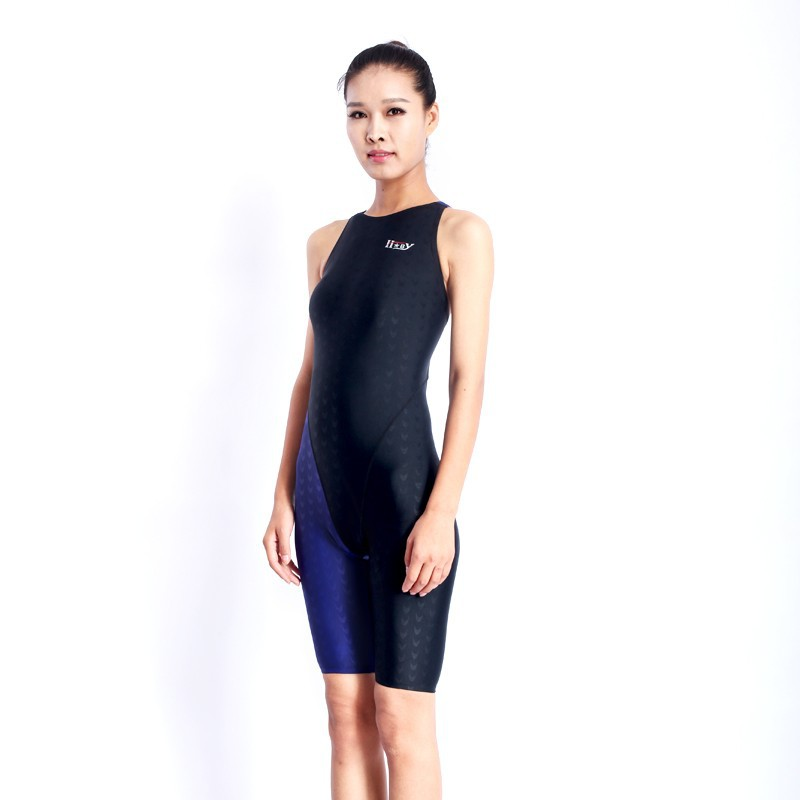HXBY swimwear girls racing swimsuits sharkskin professional swimsuits knee one piece competition swim suits one piece 14