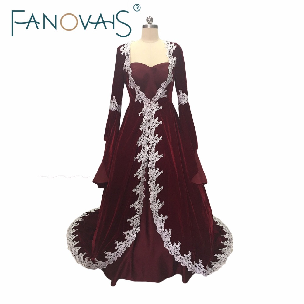 Burgundy wedding dresses picture more detailed picture for Velvet and lace wedding dresses