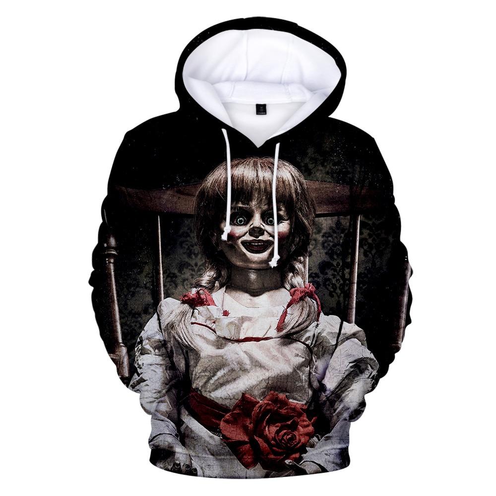Annabelle 3D Hoodies Men Women Sweatshirts Harajuku Hoodie Pullovers Print 3D Horror Movie Annabelle Hoodies Streetwear Clothes