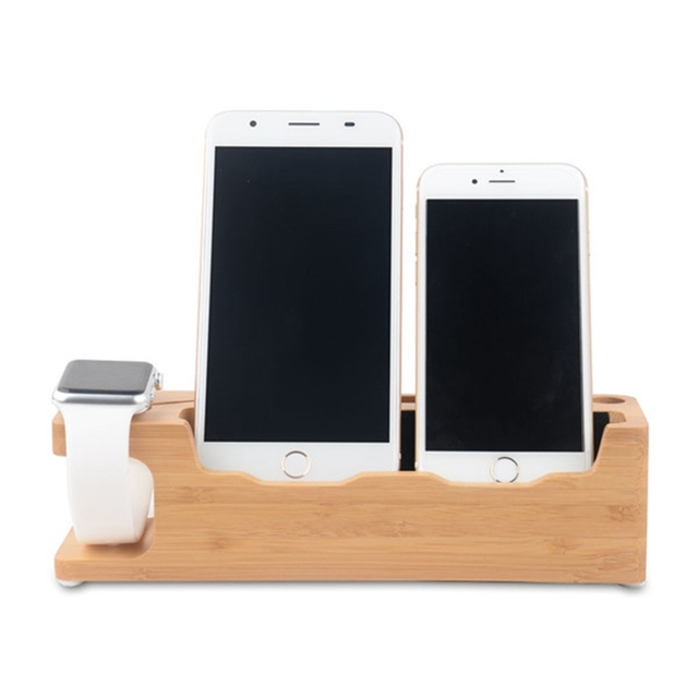 4 in 1 Multifunction Phone Charging Holder Wooden Charge Sation Dual Mobile Phone Bracket For iPhone For Samsung For Apple Watch