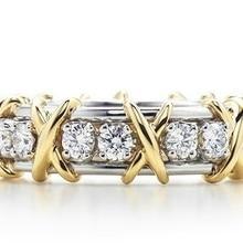 Art Deco X Love, круглая огранка, синтетические бриллианты, Женское кольцо, Твердое Серебро 925 пробы, золото, цвет, свадебные украшения