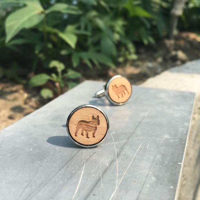 Animal Wood Cufflinks Laser Engraved Dog Cuff Link Wooden Cufflink Handmade X 1 Pair
