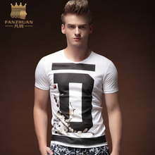 FANZHUAN Featured Brands Clothing 2017 New Design Fashion Men's T-Shirt  Summer Short Sleeve Print T Shirt Men Slim Fit Tshirt