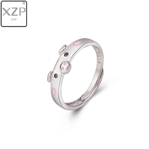 XZP S925 Cute Pink Enamel Pig Rings Popular Lucky Piggy Animal Couple Opening Ring Women Man Jewelry Lover Gift Adjustable(China)