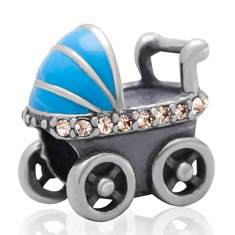 Fashion baby carriage Jewelry Charms Authentic 100% 925 sterling silver Beads with Cubic Zirconia Fit For pandora bracelets
