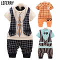 50%OFF Kids Summer Clothes Set Baby Boy Clothing Set Plaid Vest Tie Tshirt + Shorts Pants Gentleman Suit Casual Wear