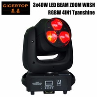 Freeshipping High Brightness Low Noise 3x40W 4in1 RGBW LED Moving Head Wash Light Beam Zoom Stage Moving Head For Event Disco DJ