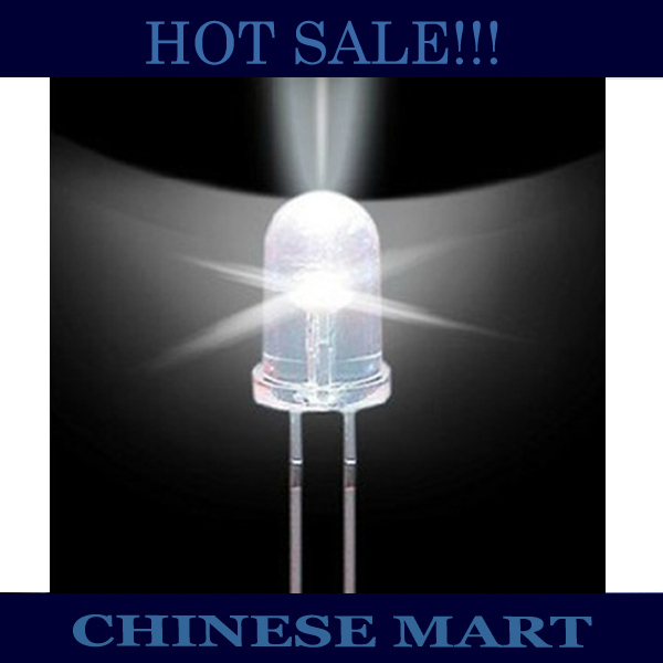 Diodes Electronic Components & Supplies 500pcs/lot Straw Hat Led Dip 5mm Ultra Bright Pure White Led Diode Round Water Clear Cool White Color Led Lamp #ls112