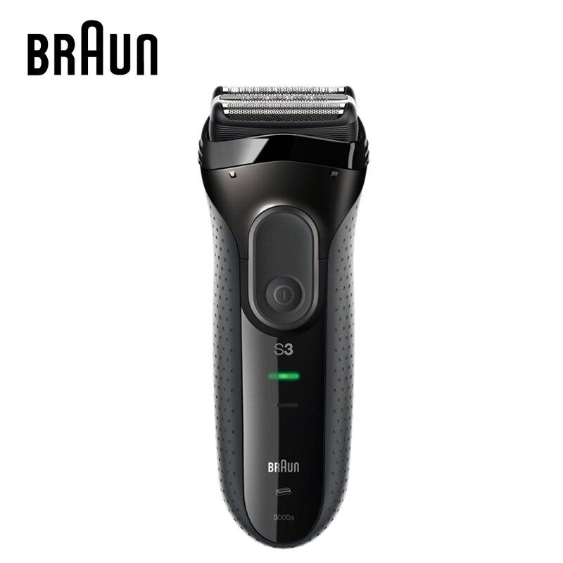 Braun Series 3 เครื่องโกนหนวดไฟฟ้า 3000S มีดโกนใบมีดเกรดสูงแบบชาร์จไฟได้มีดโกนหนวดไฟฟ้ามีดโกนสำหรับผู้ชาย-ใน เครื่องโกนหนวดไฟฟ้า จาก เครื่องใช้ในบ้าน บน title=