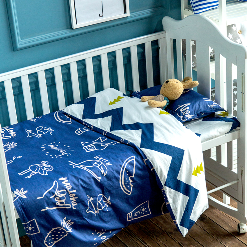 3Pcs /Sets Baby Bed Sets Breathable Cotton Cartoon Newborn Bed Sheet Pillowcase AB Edition Quilt Cove Baby Bedding For Girl Boy cute cotton green gray baby bedding sets newborn bed for girl boy detachable cot sheet duvet cover pillowcase without filling
