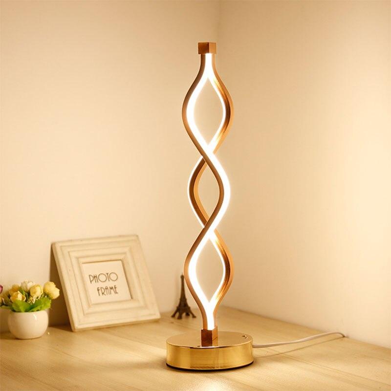 Tira de luz LED de 24W 110 V/220 V lámpara de escritorio espiral artísticas de acrílico lámparas de mesa lámpara de iluminación de lectura interior lámpara de mesa decorativa