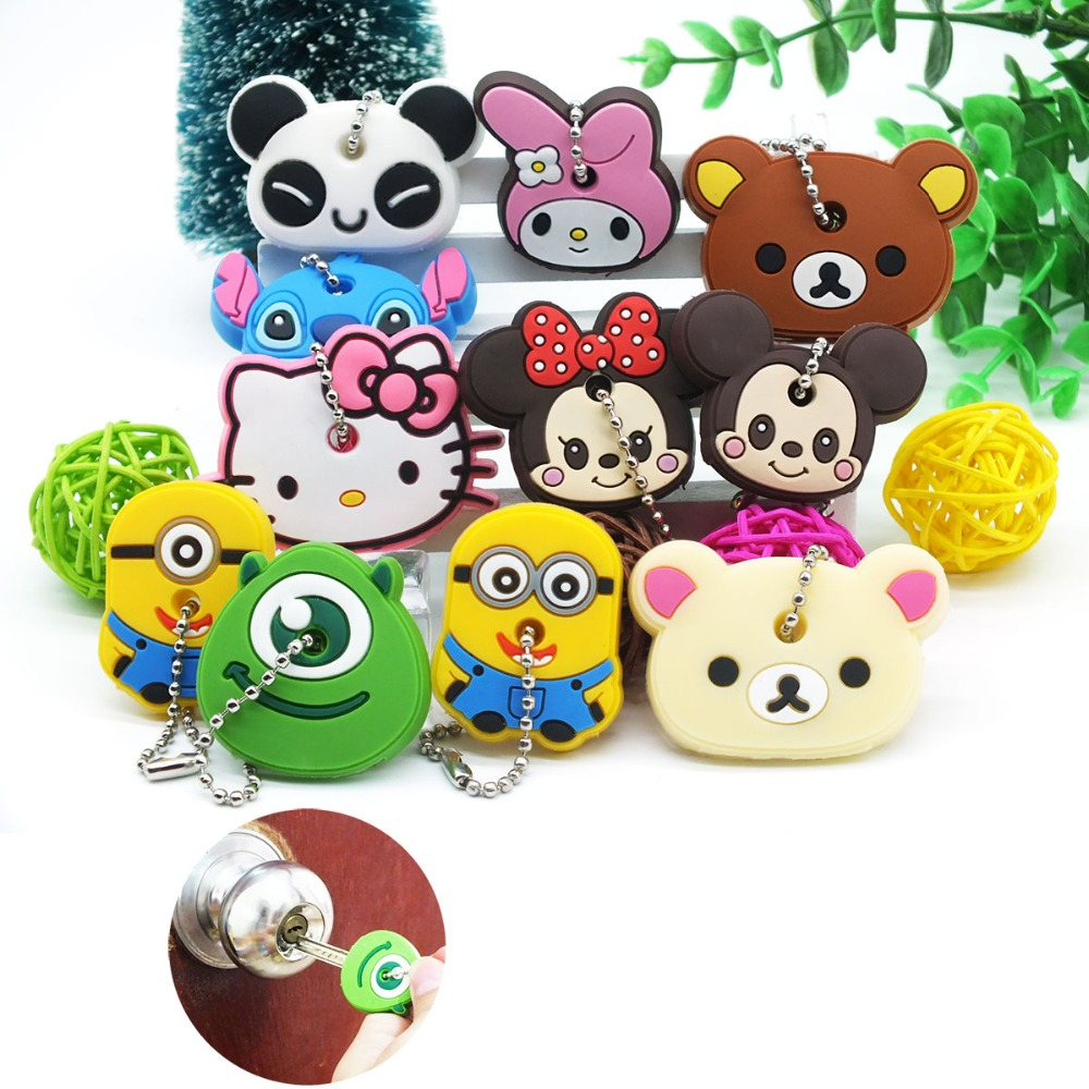 ZOEBER Funny animal keychain cartoon key chain Anime Mickey Minion Anime keycover animation key caps Children femme Keychain