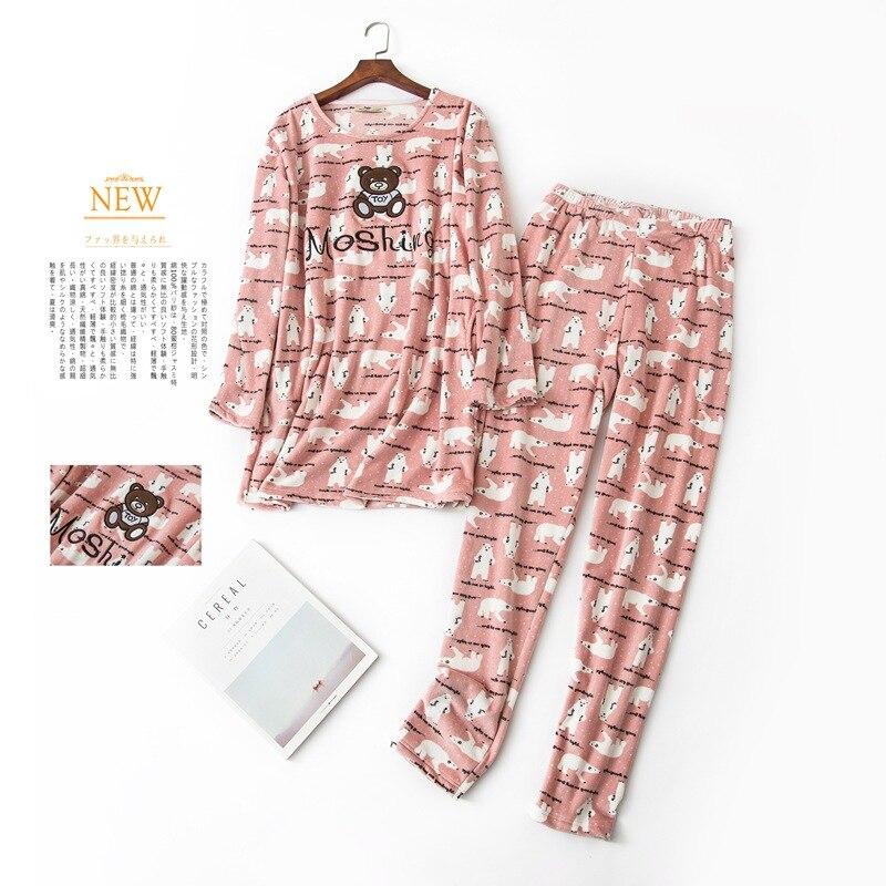 Thickened Double-sided Velvet   Pajamas   Winter Korean Cute Cartoon   Pajamas   for Women Pijama Mujer Coral Velvet   Pajama     Set   2-piece