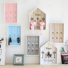 Wall-mounted Wooden House Key Living Room Jewelry Rack Home Wall Crafts Shelf Porch Storage Hanging Hook Boxes