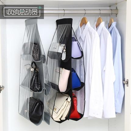 ... Transparent Hanging Closet Organizer Handbag Dust Cover Multi Layer  Hanging Closet Shelves Purse Handbag Hanger ...