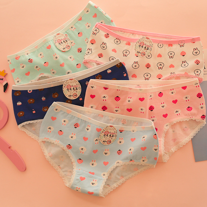 HUI GUAN Bear Patterned Cartoon Underwear Girl Cute Cotton   Panties   Soft Seamless Briefs Fashion Kawaii Women Underwear Lingerie