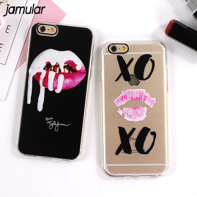JAMULAR Graffiti Sexy Girl Kylie Lips Phone Case For IPhone 8 6 6S 7 Plus Transparent Silicone