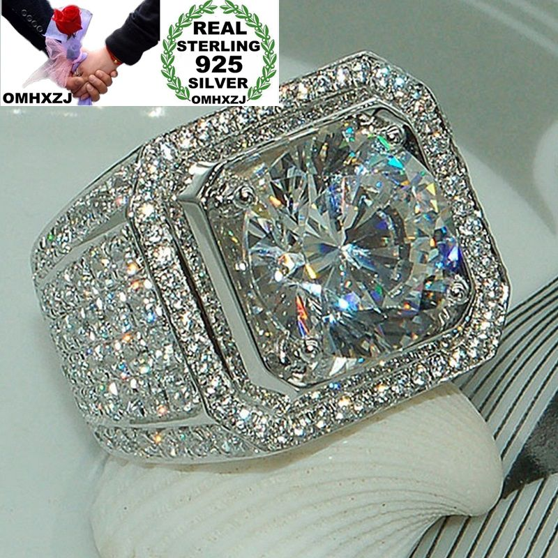 OMHXZJ Wholesale European Fashion Man Male Party Wedding Gift Silver White Square AAA Zircon 925 Sterling Silver Ring RR04