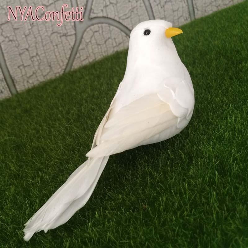 10PCS, 13 * 4 * 6CM Umělé dekorativní bílé ptáky, pěnové peří Falešné holubice s nohou, ptačí ozdoby Domácí dekor, DIY Party potřeby