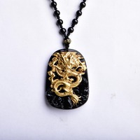 Wholesale Gold Natural Black Obsidian Carving Dragon Lucky Amulet Pendant Necklace For Women Men pendants Jewelry