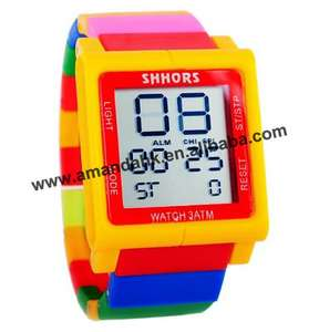 Rainbow-Block Wristwatch Digital Unisex Day Sport 100pcs/Lot Led-Date Touch-Screen Modular-Style