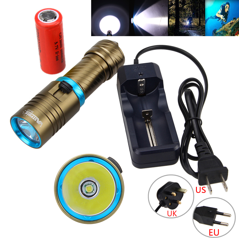 Waterproof Diving Torch 10000LM XML T6 LED Flashlight  Scuba Diver Light with 26650 Battery + Charger