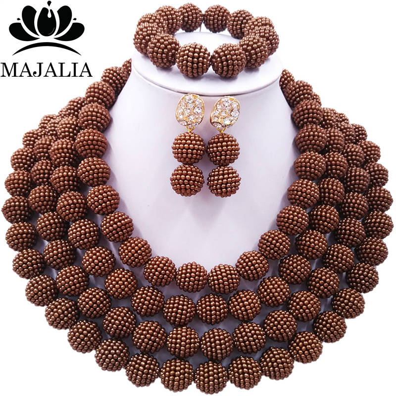 Majalia Official Store Majalia Classic charming Nigerian Wedding African Bead Jewelry Set Brown Crystal Necklace Bride Jewelry Sets 4CB008
